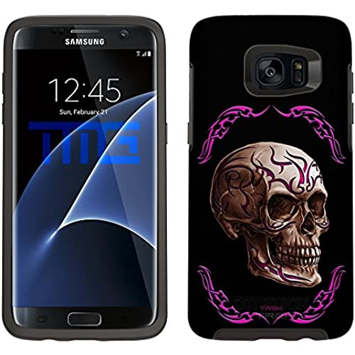 Skin Decal for Otterbox Symmetry Samsung Galaxy S7 Edge Case - Pink Tattoo Skull on Black Sales