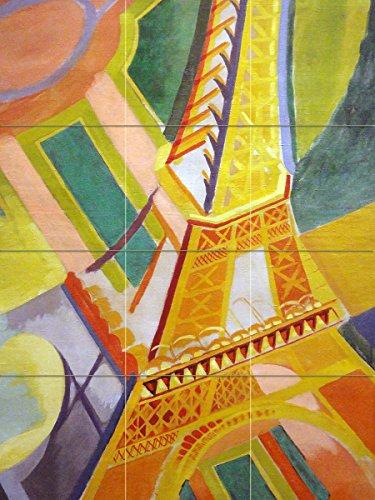 magnífica París y la torre Eiffel por Robert Delaunay Paisaje Mural de Azulejos baño cocina pared Backsplash detrás de...