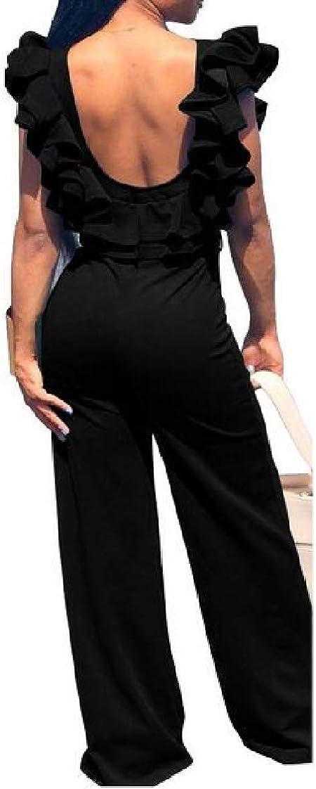 Pandapang Womens Backless Sleeveless Falbala Wide Leg Long Rompers Jumpsuits