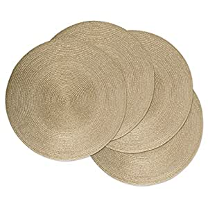DII Round Braided & Woven, Indoor/Outdoor Placemat or Charger, Set of 4, Champagne Gold