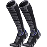 WEIERYA Ski Socks 2 Pairs Pack for Skiing, Snowboarding, Cold Weather, Winter Performance Socks Grey Large
