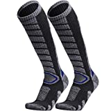 WEIERYA Ski Socks 2 Pairs Pack for Skiing, Snowboarding, Cold Weather, Winter Performance Socks Grey Medium