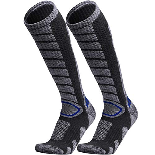 WEIERYA Ski Socks 2 Pairs Pack for Skiing, Snowboarding, Cold Weather, Winter Performance Socks Grey Medium (Kids Pack Socks Ski)