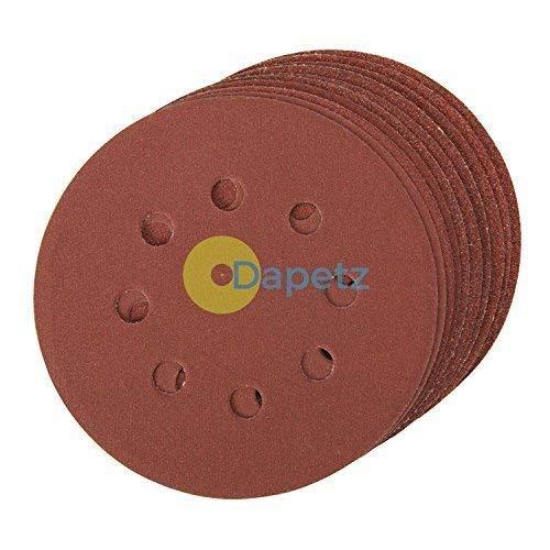 Daptez /® Punched Sanding Discs 125mm 10pk Grit 40 Hook /& Loop Aluminium Oxide