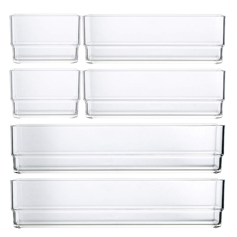 STORi Clear Plastic Drawer Organizers | 6 Piece Set by STORi