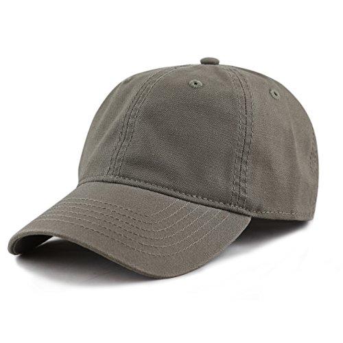 THE HAT DEPOT 100% Cotton Canvas 6-Panel Low-Profile Adjustable Dad Baseball Cap (Olive) ()