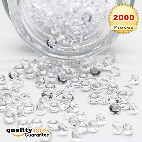 PMLAND Diamond Table Confetti Clear 2000 Pieces of 1 Carat/ 6.5mm for Wedding Bridal Shower Party Decorations -