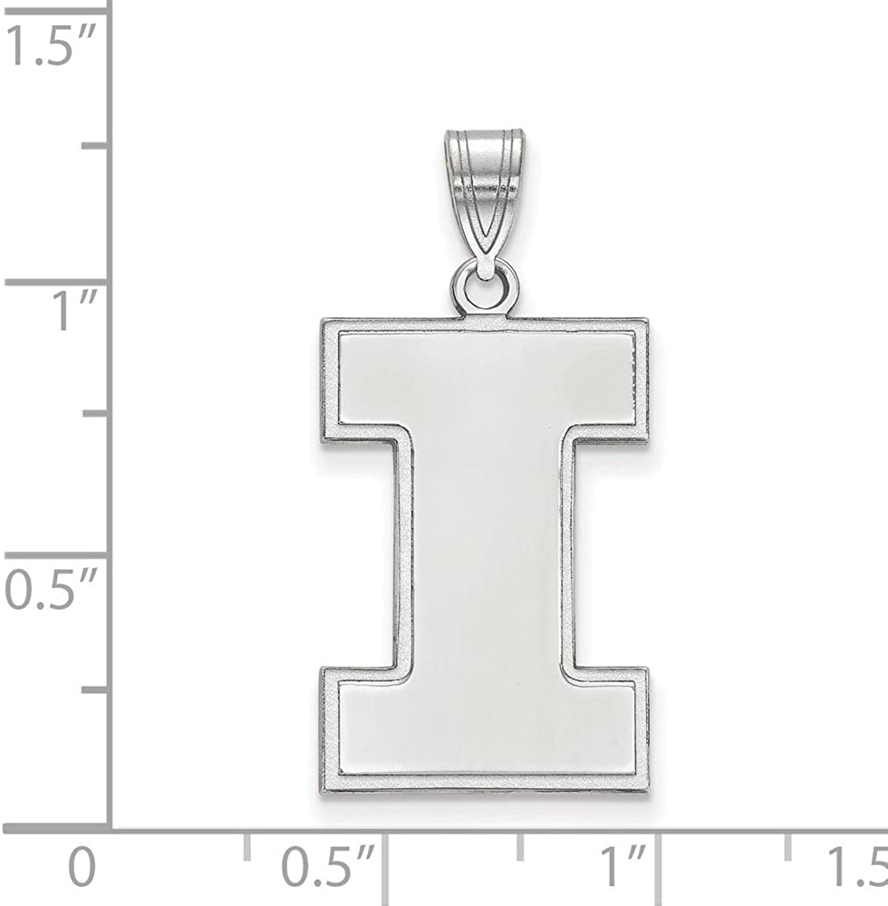 Solid 925 Sterling Silver Official University of Illinois XL Extra Large Big Pendant Charm 28mm x 15mm