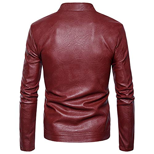 Stand Leather Men Casual Zipper Red Jacket Coat Slanted Men's Tomatoa Zipper Leather Wild Fashion Collar Imitation Coat Coat pd7wUzgx