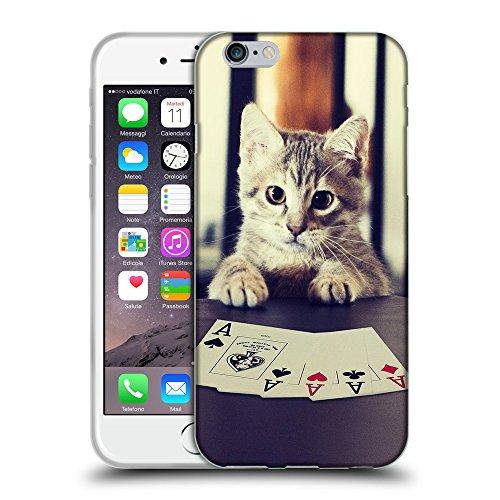 """Just Phone Cases Coque de Protection TPU Silicone Case pour // V00004217 chaton jouer aux cartes de poker // Apple iPhone 6 6S 6G PLUS 5.5"""""""