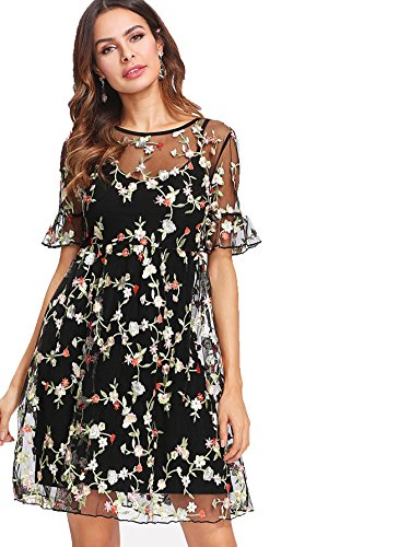 SheIn Women's Short Sleeve Embroidered Mesh Dress with Cami Slip Small Black ()