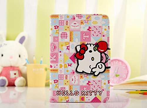iPad Air 2 Case, Phenix-Color Hello Kitty Design Premium Flip Stand PU Leather Hard Case for Apple iPad Air 2 + Free Screen Protector (#4)