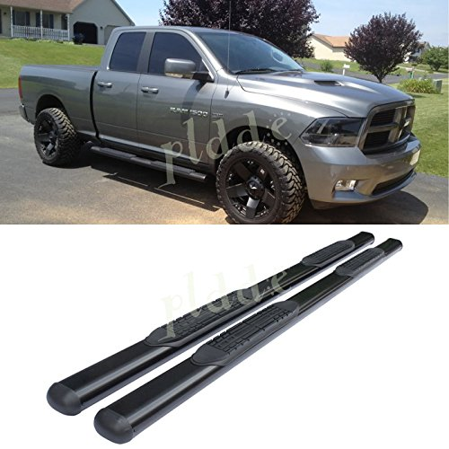 "PLDDE 2pcs 4"" Oval Tube Black Carbon Steel Side Step Nerf Bars Running Boards + Brackets + Installation Instruction Fit 09-18 Dodge Ram 1500 Extended/Quad Cab With Small Size Rear Doors"
