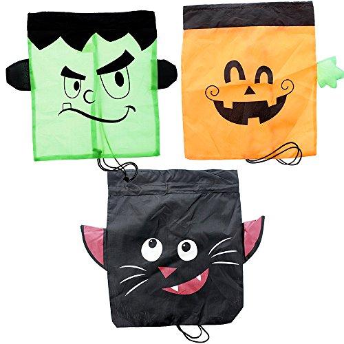 Trick or Treat Drawstring Backpacks, Pumpkin, Frankenstein & Cat Design - 3 Pack, 17