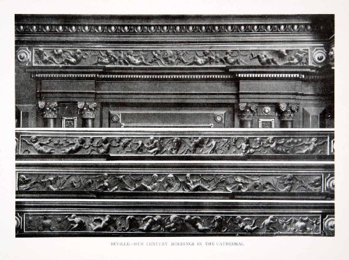 1925-print-carved-crown-molding-cathedral-seville-spain-historic-architecture-original-halftone-prin