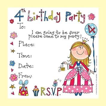 Rachel Ellen Set of 8 Childrens Party Invitations 4th Birthday