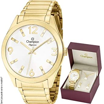 fc704347c51 Kit Relógio Champion Feminino Elegance CN25396W  Amazon.com.br ...