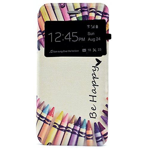 Voguecase® Pour Apple iPhone 7 4,7 Coque, Fenêtre Étui en cuir synthétique chic avec fonction support pratique pour iPhone 7 4,7 (Be happy/crayon)de Gratuit stylet l'écran aléatoire universelle