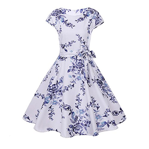 Dress for Women, Classic Floral Print Retro Dress, Women's Butterfly Summer Dress Party Pin-up Princess Dress White