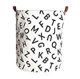 Storage Bin,Canvas Fabric Collapsible Organizer Basket for Laundry Hamper,Toy Bins,Gift Baskets, Bedroom, Clothes,Baby Nursery(Letter)