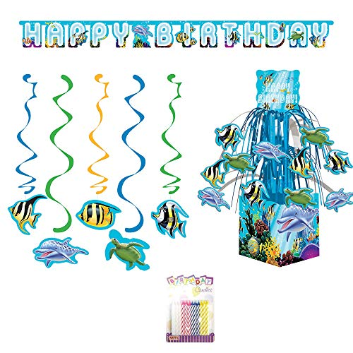 Ocean Sea Life Theme Party Decoration Supplies Pack: Honeycomb Centerpiece, Shaped Ribbon Banner, Hanging Swirl Danglers, and Birthday Candles (Deluxe Bundle) -