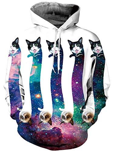 Hombres Cat Galaxy Sudadera Aideaone Con Unisex Capucha Mujeres 5gq4FZw4