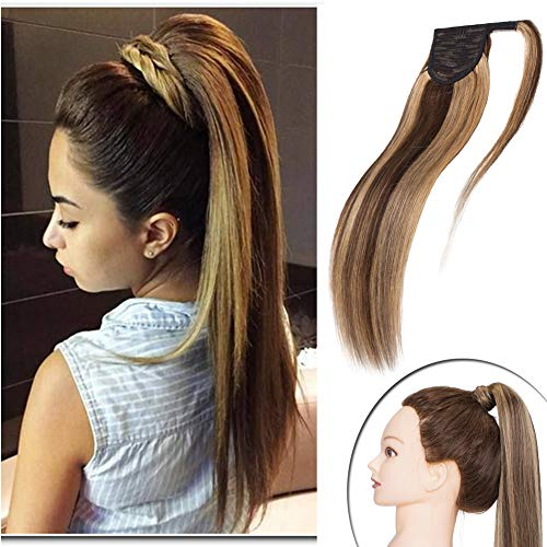 - Highlighted Wrap Around Ponytail Human Hair Extensions Medium Brown mixed Dark Blonde Comb Clip in Long Straight Pony Tail for Women 90g Thick Soft One Piece Hairpiece 16 inch #4&27