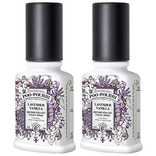 Poo-Pourri Before-You-Go Bathroom Spray, Lavender Vanilla - 2 Ounce, 2 Pack with Ornament Box