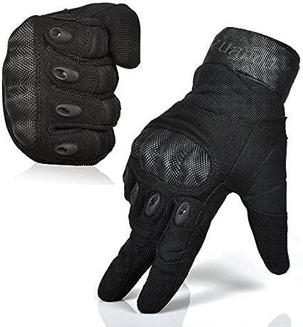 Men Rubber Armor Tactical Full Finger Gloves Paintball Shooting Hunting Black
