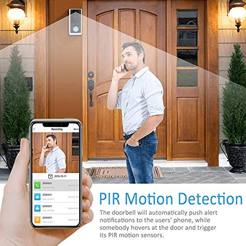 Wireless Video Doorbell with Chime, Wireless Doorbell Camera,Wirefree Battery Video Doorbell, Freewire Rechargeable Battery Doorbell 2-Way Audio 1080P by USKEYVISION (Silver) by USKEYVISION (Image #2)