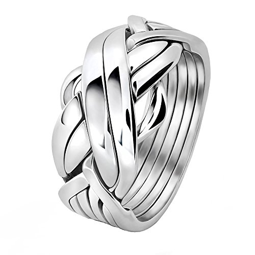 Men's 6 band STERLING SILVER Puzzle Ring 6FMS (11.5)
