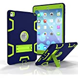 iPad Pro 9.7 Shockproof Case, Rubberized Armor Military Protection Shockproof Shell With Stand For iPad Pro 9.7 & iPad Air 2 - DUAL COLOR (NAVY/GREEN)