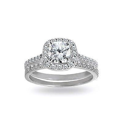 Sterling Silver Cubic Zirconia Cushion Cut Halo Bridal Wedding Band Engagement Ring Set