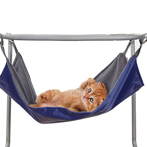 Cat Kitty Hanging Hammock Pet Hammock Bed - 2 Side Sleep Pad used in Winter and Summer, Perfect for Cat Nap (Blue)