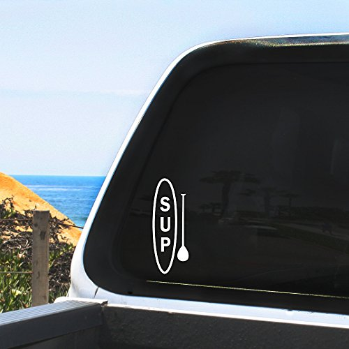 Sup Surfboard And Paddle Vertical Graphic   Stand Up Paddle Board   Sticker   Decal   Car Windows  Non Porous Surfaces