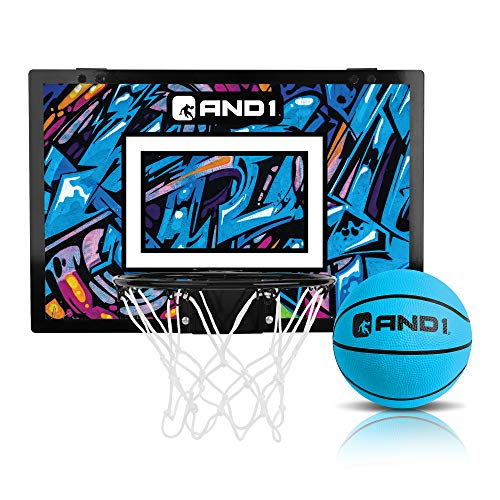 """AND1 Over The Door Mini Hoop: - 18""""x12"""" Easy to Install Portable Basketball Hoop with Steel Rim, Includes 5"""" Mini Basketball, Indoor Game Set for Children and Adults- Blue & Purple"""