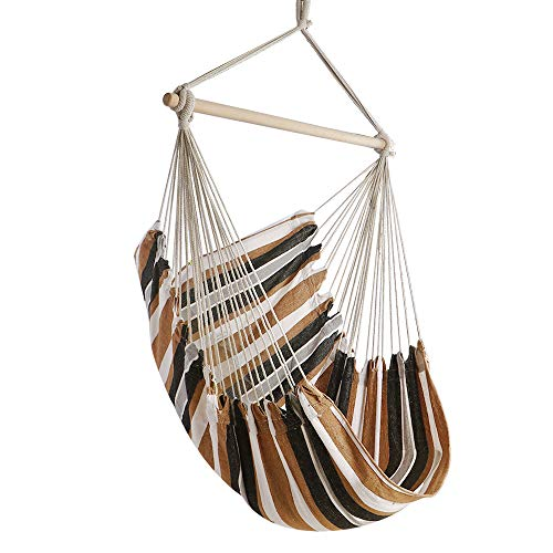 Chihee Hammock Chair Large Hammock Chair Relax Hanging Swing Chair Cotton Weave for Superior Comfort & Durability Perfect for Indoor/Outdoor Home Bedroom Patio Deck Yard Garden (Swing For Chairs Patio Sale)