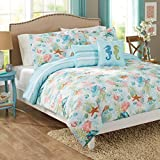 Beach Themed Comforter Sets 5 Piece Multi Color Nautical Themed Beach Day Comforter Set Full Queen, Tropical Blue Sage Peach White Coral Shells Horse Starfish Coastal Under Sealife Reversible Wave Adult Bedding, Polyester
