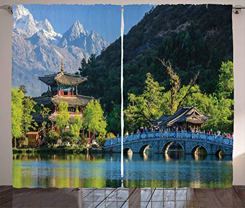 Ambesonne Ancient China Curtains, Old Town Scene of Lijiang Black Dragon Pool Park Jade Dragon Snow Mountain, Living Room Bedroom Window Drapes 2 Panel Set, 108 W X 96 L -