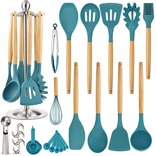 Silicone Kitchen Cooking Utensil Set, EAGMAK 16PCS Kitchen Utensils Spatula Set with Stainless Steel Stand for Nonstick Cookware, BPA Free Non Toxic Cooking Utensils, Kitchen Tools Gift (Dark Blue)