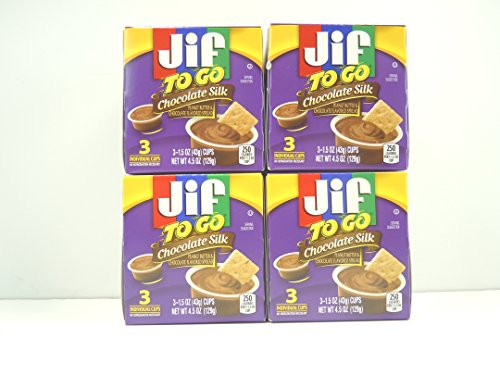 Jif To Go Chocolate Silk Peanut Butter Cups,3 individual 1.5oz. cups per box:Pack of 4 Boxes for a total of 12 individual cups. (Jif Chocolate Peanut Butter compare prices)