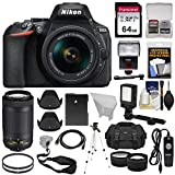 Nikon D5600 Wi-Fi Digital SLR Camera with 18-55mm VR & 70-300mm DX AF-P Lenses + 64GB Card + Case + Flash + Battery + Tripod + Tele/Wide Lens Kit