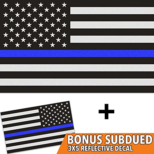 Thin Blue Line Decal with Bonus Subdued Flag - 3