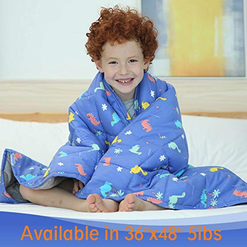 Cheap JHMENG Weighted Blanket for Kids 5lbs 100% Durability Comfort Organic Cotton with Glass Beads for Children with Anxiety Insomnia ADHD Blue Dinosaurs Black Friday & Cyber Monday 2019