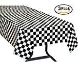 racing party supplies - Pack of 3, Black & White Checkered Flag Table Cover Party Favor/Checkered Tablecloth/Disposable Checkered Racing Table Cover