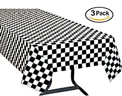 Pack Of 3, Black U0026 White Checkered Flag Table Cover Party Favor/Checkered  Tablecloth