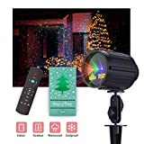 Christmas Projector Light, Laser Projector Red Green and Blue Star 3 Modes with RF Remote Control, Garden Lamp Weatherproof Xams Star Laser Show Lighting for Halloween, Party, Holiday Decoration