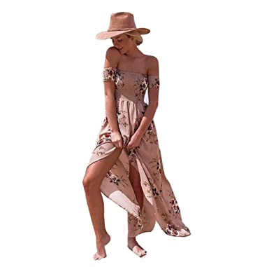 f3875316e6 Kelaixiang Women s Boho Off Shoulder Strapless Summer Beach Floral Slit  Maxi Dress (Khaki