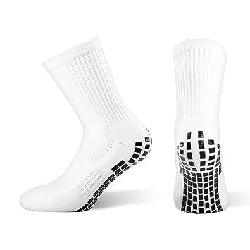 Calcetines deportivos Snocks antideslizantes con agarre, negros, perfectos para fútbol, baloncesto, blanco