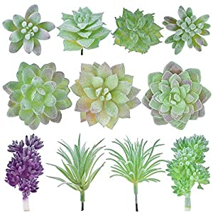 Geboor 11 Pcs Artificial Succulent Plants Unpotted Assorted Faux Succulent Fake Succulent Picks for Floral Arrangement Home Decoration 105